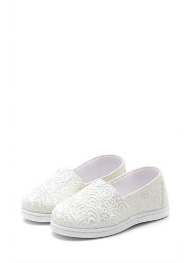 First Step Desenli Çocuk Keten Babet Ayakkabı--F-489 Beyaz